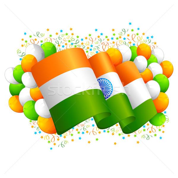 Indio bandera tricolor globo ilustración resumen Foto stock © vectomart