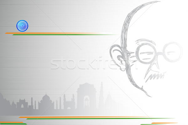 Mahatma Gandhi on Indian City scape Stock photo © vectomart