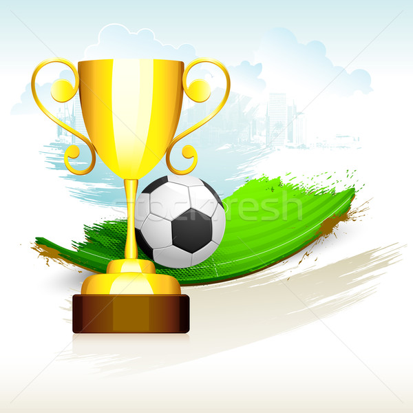 Gold Trophyl on Soccer Pitch Stock photo © vectomart