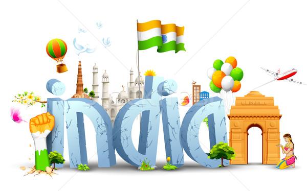 Foto stock: India · ilustración · tricolor · globo · indio · bandera