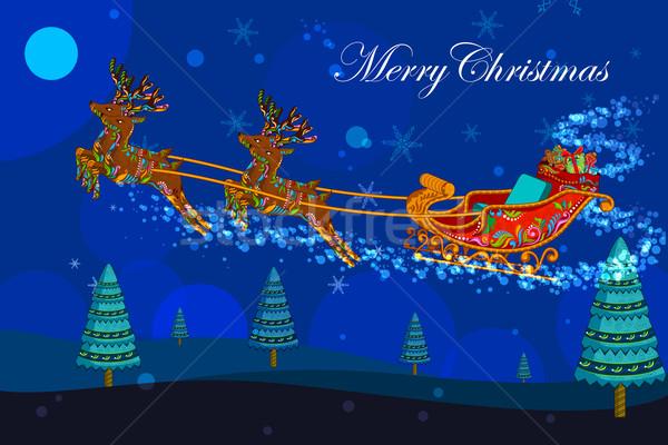 Navidad vacaciones ilustración trineo regalos Foto stock © vectomart