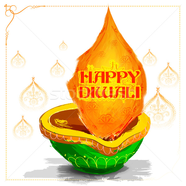 Burning watercolor diya on happy Diwali Holiday background for light festival of India Stock photo © vectomart