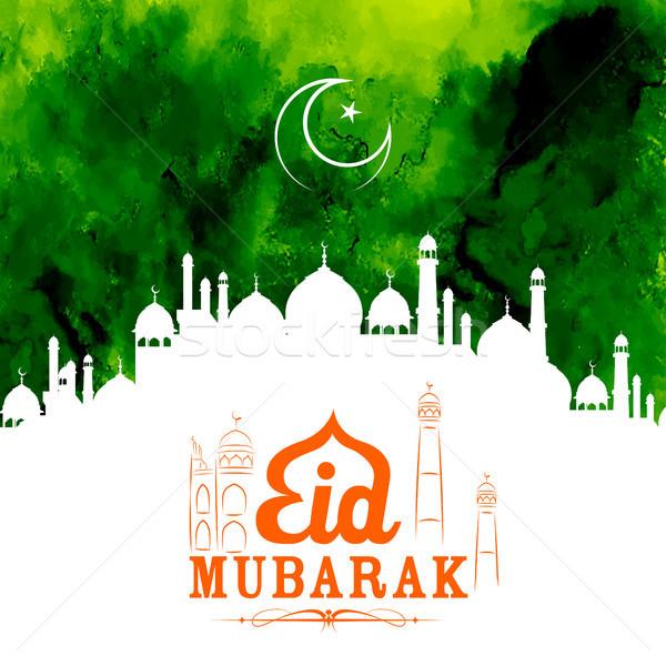Eid Mubarak Happy Eid greetings with mosque Stock photo © vectomart