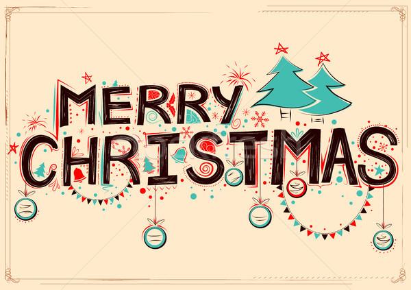 陽気な クリスマス デザイン セット タイポグラフィ スタイル ストックフォト © vectomart