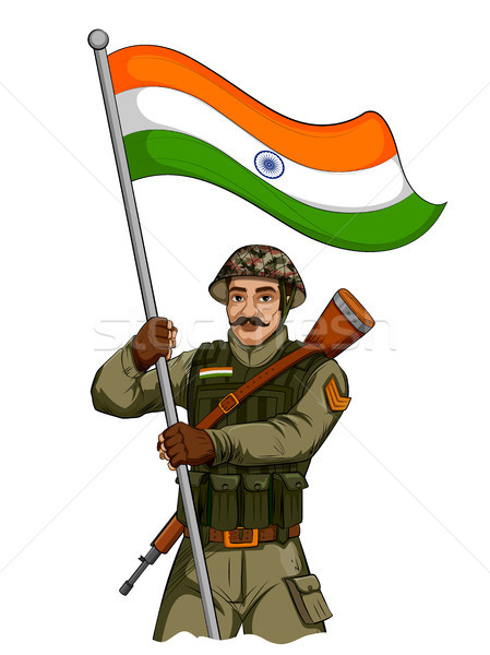 Indian Army soilder holding falg of India with pride Stock photo © vectomart