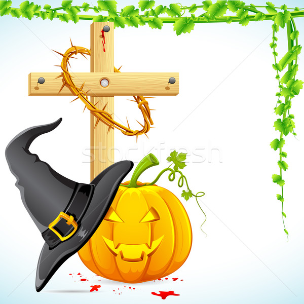 Halloween Witch Hat with Pumpkin Stock photo © vectomart