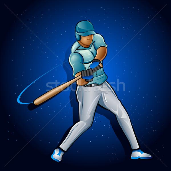 Jogador de beisebol ilustração bat abstrato homem esportes Foto stock © vectomart