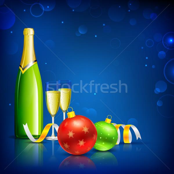 Foto d'archivio: Champagne · vetro · Natale · celebrazione · illustrazione · bottiglia