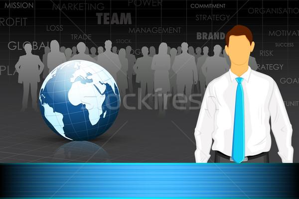 Chef d'équipe illustration homme d'affaires équipe monde affaires Photo stock © vectomart