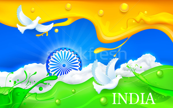 Colombe battant indian tricolor pavillon illustration Photo stock © vectomart