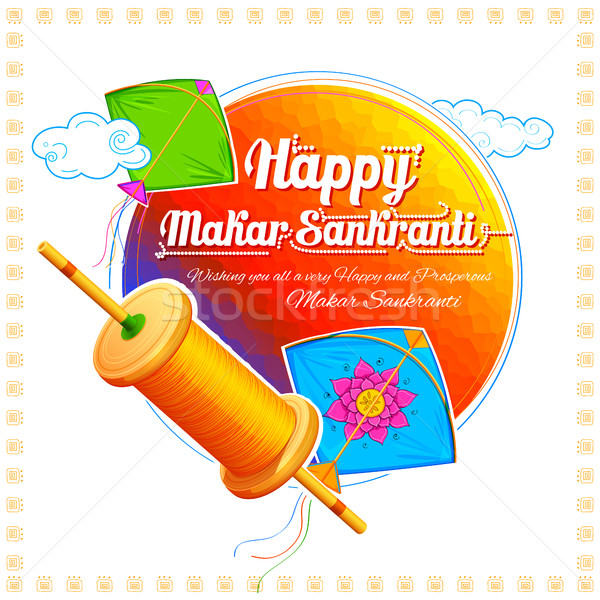 Happy Makar Sankranti wallpaper with colorful kite string for festival of India Stock photo © vectomart