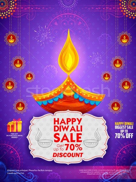 Stock photo: Burning diya on Happy Diwali Holiday Sale promotion advertisement background for light festival of I