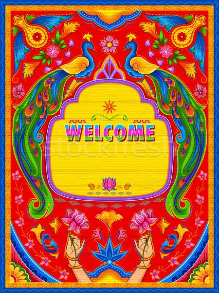Stok fotoğraf: Renkli · karşılama · afiş · kamyon · sanat