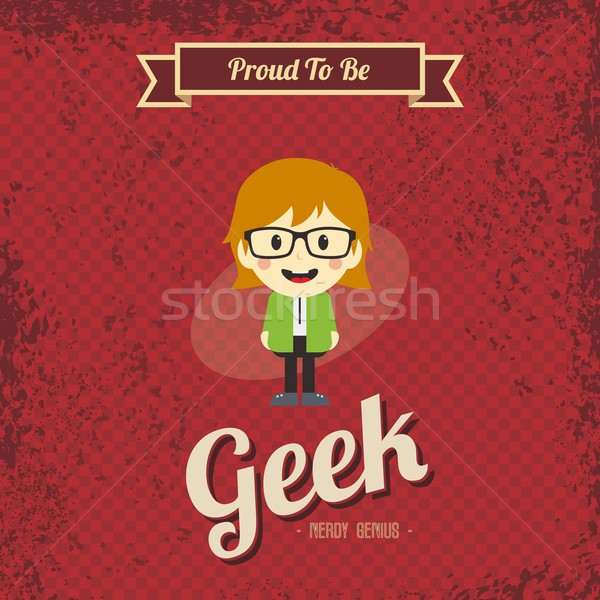 Dahi geek Retro karikatür vektör sanat Stok fotoğraf © vector1st