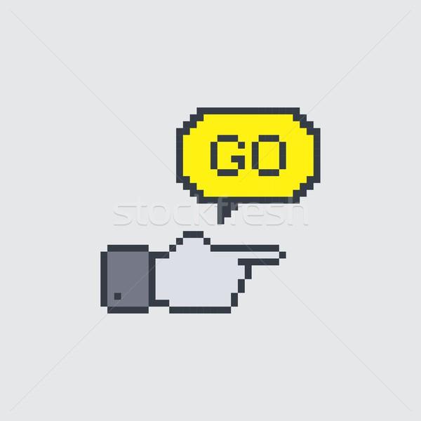 Pixel arte gesto vettore grafica design Foto d'archivio © vector1st