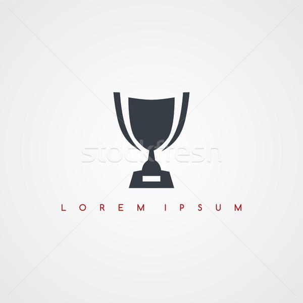 Trófea ikon felirat logotípus csésze vektor Stock fotó © vector1st