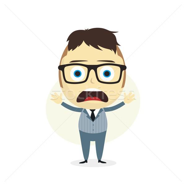 Ahnungslos Geschäftsmann Zeichentrickfigur Vektor Kunst Illustration Stock foto © vector1st