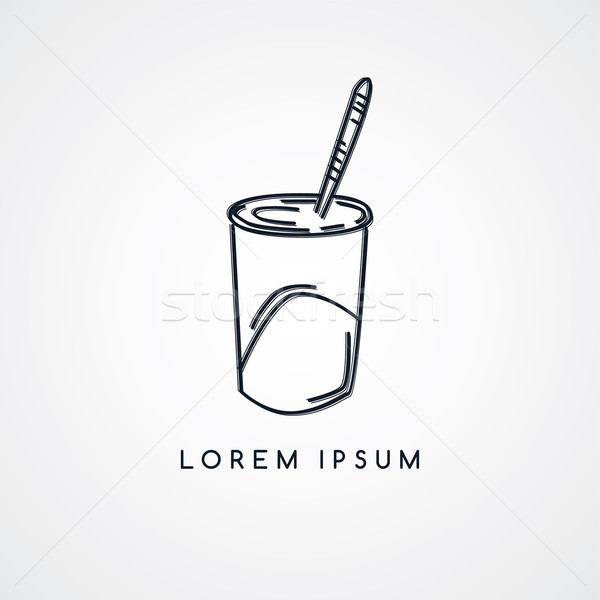 Jugo taza bebida fría boceto vector arte Foto stock © vector1st