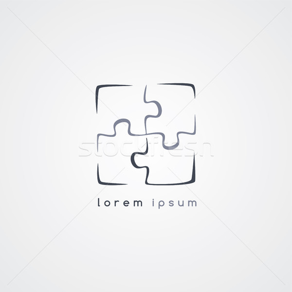 puzzle jigsaw logo sign template Stock photo © vector1st