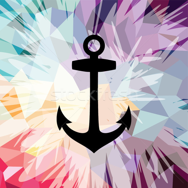 Stock photo: Abstract colorful anchor navy nautical theme