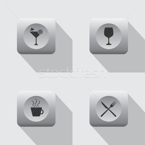 étterem kávézó ikon vektoros kép illusztráció étel Stock fotó © vector1st