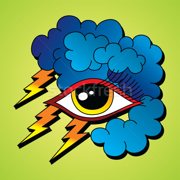 Csavar villám szem szimbólum vektor művészet Stock fotó © vector1st