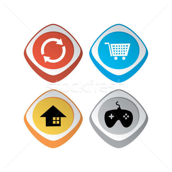 glossy color app icon button game asset theme vector set Stock photo © vector1st