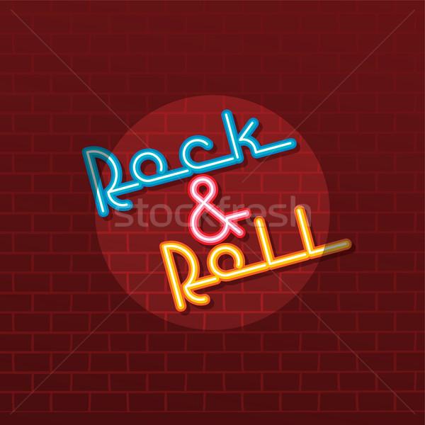 Neon rock toczyć wektora sztuki ilustracja Zdjęcia stock © vector1st