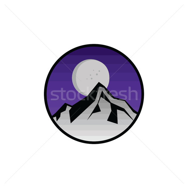 Hegy kirándulás kilátás ikon felirat szimbólum Stock fotó © vector1st
