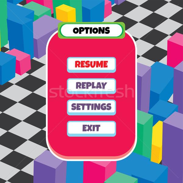 Oyun menü vektör sanat örnek Stok fotoğraf © vector1st