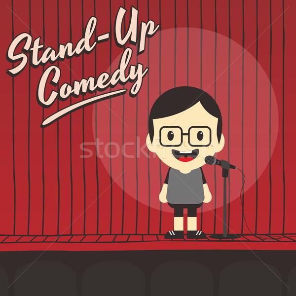 Férfi áll felfelé komikus rajzfilmfigura zene Stock fotó © vector1st