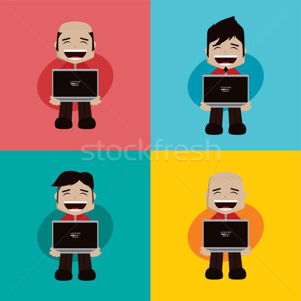 бизнесмен менеджера работу ноутбука Cartoon Сток-фото © vector1st
