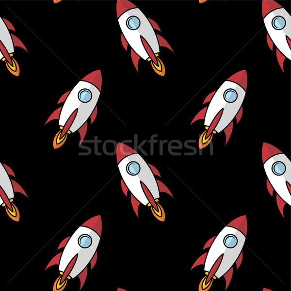 Espaço navio foguete desenho animado vetor arte Foto stock © vector1st