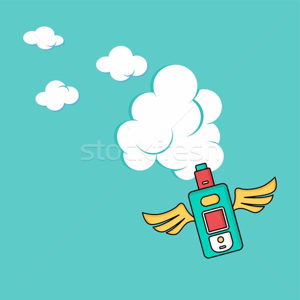 Anioł skrzydła elektryczne papierosów osobowych wektora Zdjęcia stock © vector1st