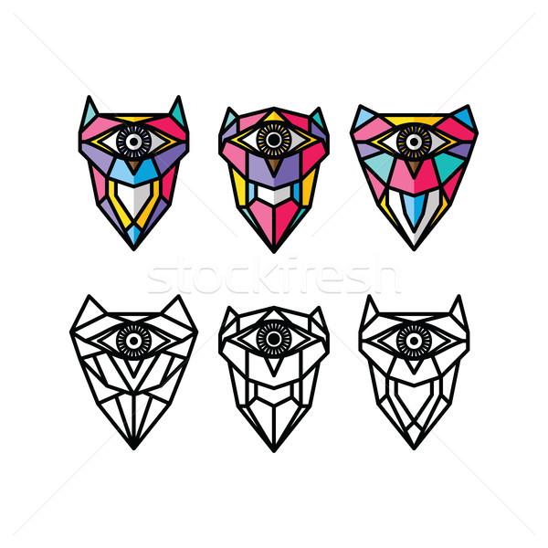 Une oeil chouette logo coloré Photo stock © vector1st