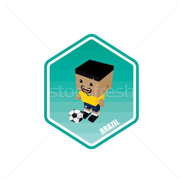 Futball izometrikus Brazília vektor művészet rajz Stock fotó © vector1st