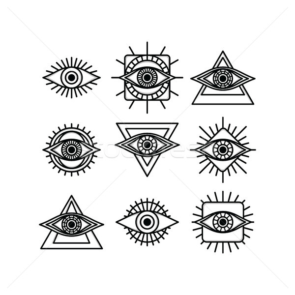 one eye sign symbol logo logotype collection Stock photo © vector1st