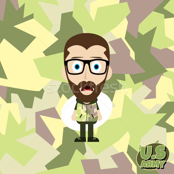 Hadsereg álca rajz fickó vektor művészet Stock fotó © vector1st
