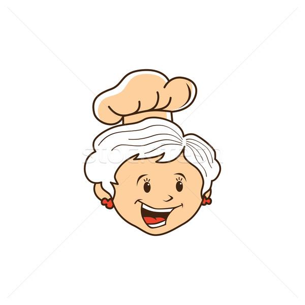 Abuela chef Cartoon vector arte ilustración Foto stock © vector1st
