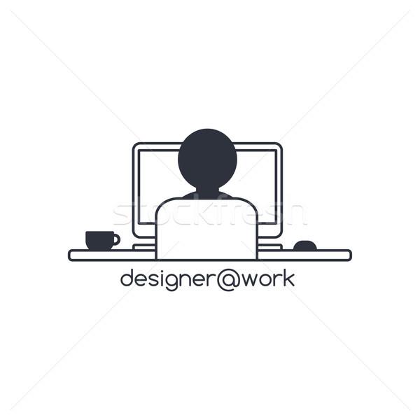Disenador programador ordenador vector arte ilustración Foto stock © vector1st