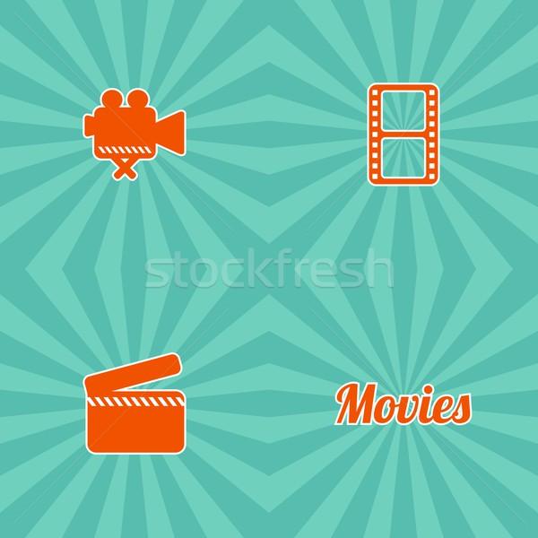 Film ikon vektor művészet grafikus illusztráció Stock fotó © vector1st