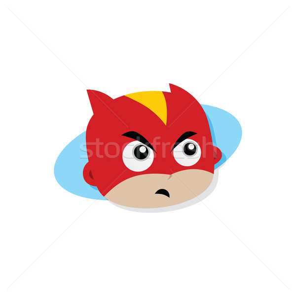 Adorable and amazing cartoon superhero head in classic expression Stock photo © vector1st