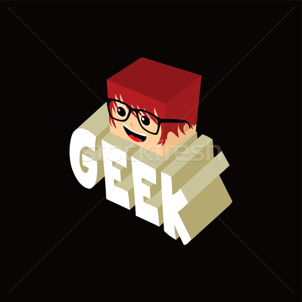 isometric female geek cartoon character Stock photo © vector1st