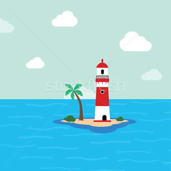 beach lighthouse seashore view Stock photo © vector1st