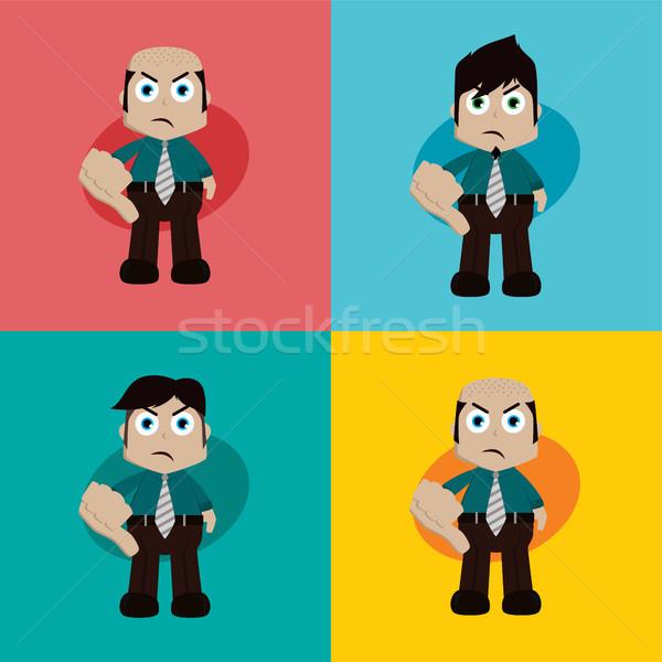 ストックフォト: ビジネスマン · マネージャ · 作業 · 親指 · ダウン · 漫画