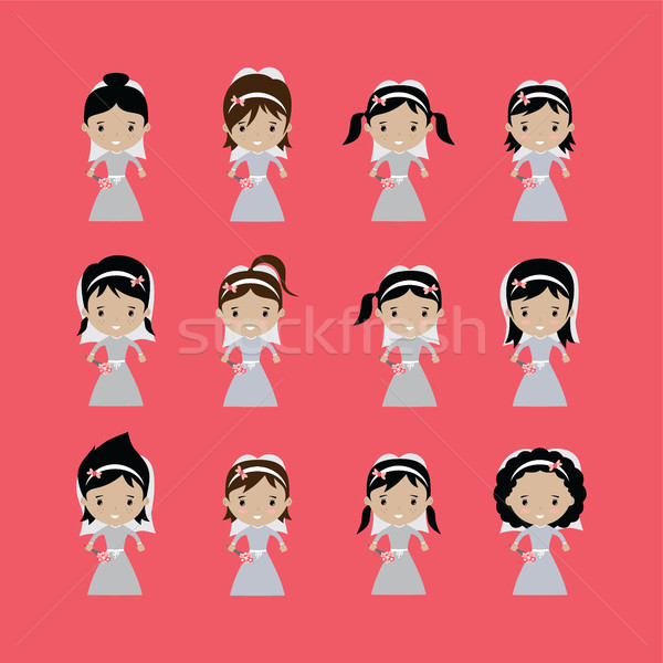 adorable bride lovely marriage cartoon theme vector Stock photo © vector1st