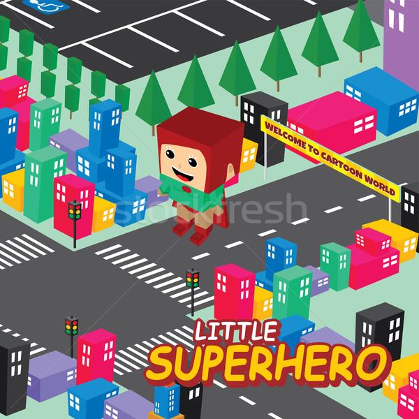 cartoon superhero isometric theme Stock photo © vector1st