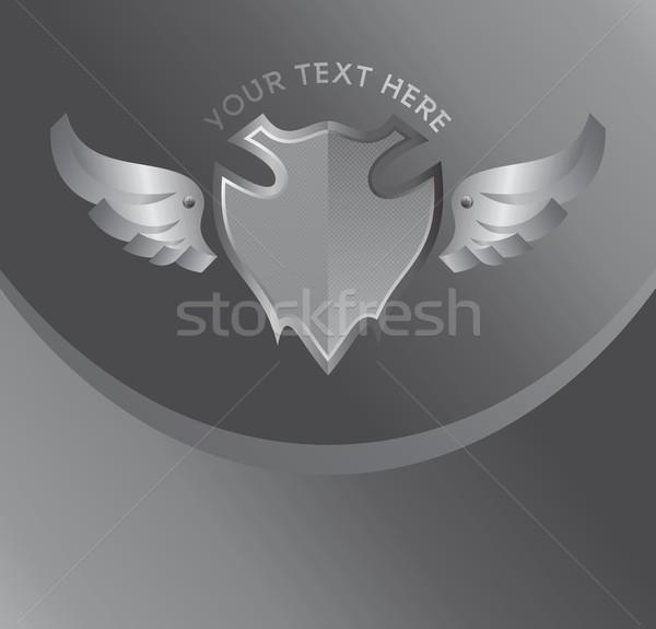 Ezüst pajzs szárny művészet felirat címke Stock fotó © vector1st