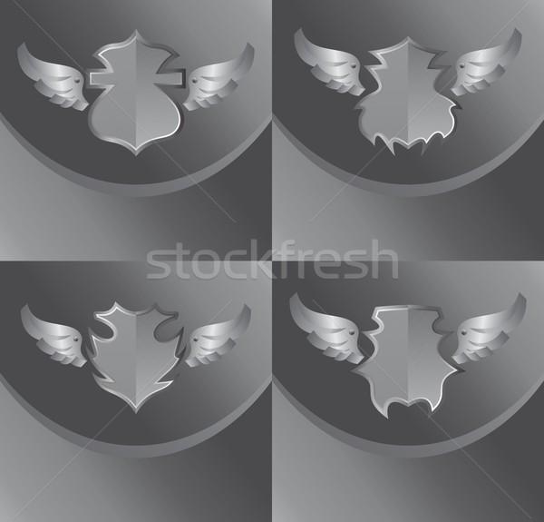 Prata escudo asa arte assinar etiqueta Foto stock © vector1st