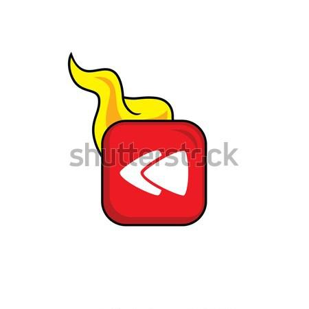 Forró láng ikon gomb vektor művészet Stock fotó © vector1st